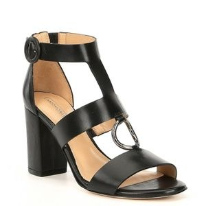 Antonio Melani Black Leather Dress Sandals 9.5